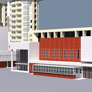 学校建筑<font class='myIsRed'>大楼</font>整体模型