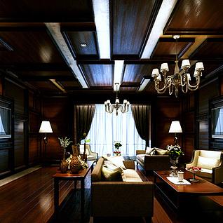 美式风格客厅3d模型