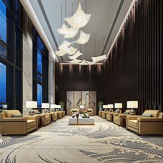 现代中式接待室3d模型