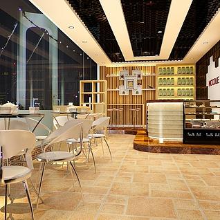 休闲茶餐厅整体模型