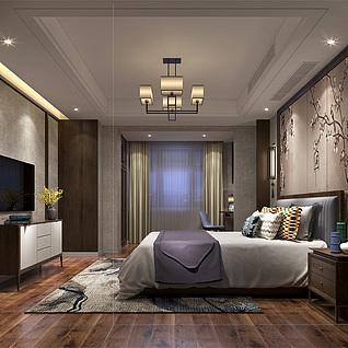 新中式卧室3d模型图片