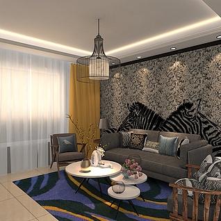 现代客厅沙发茶几组合整体模型