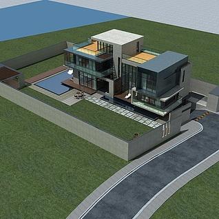 现代别墅整体模型