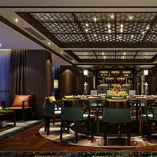 豪华餐厅包房整体模型