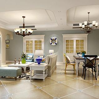 地中海风格客厅整体模型