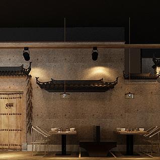 新中式徽派餐厅餐馆09版本整体模型
