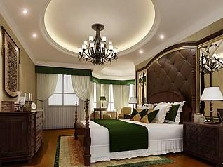 美式卧室模型3d模型