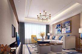 现代沙发茶几创意吊灯整体模型