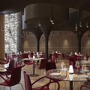现代时尚咖啡厅整体模型