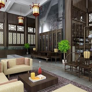 中式展示厅效果图整体模型
