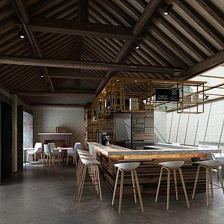 现代简装餐厅整体模型