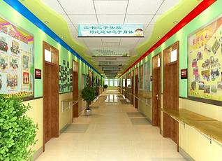 小学校史馆走廊3d模型