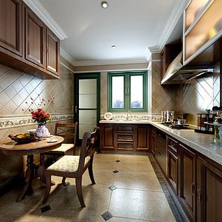 现代简欧风格厨房整体模型