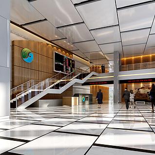 现代大厅整体模型整体模型