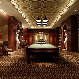 豪华时尚桌球室整体模型