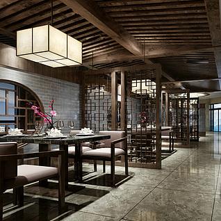 中式古典风餐厅整体模型
