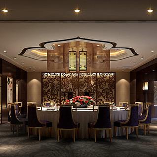 现代豪华餐厅整体模型
