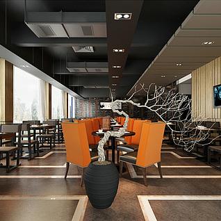 现代茶餐厅整体模型