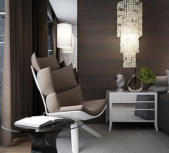 现代座椅水晶吊灯休闲单人沙发床头柜