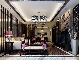 现代中式客厅整体整体模型