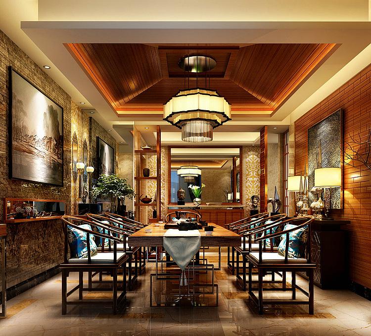 金碧辉煌的餐厅模型