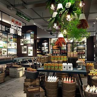 现代水果店整体3d模型