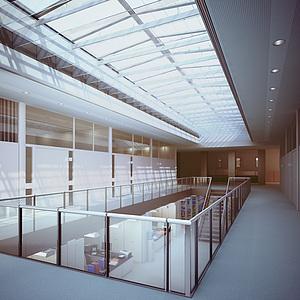 现代二楼楼梯过道整体模型