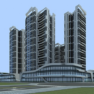 高层住宅小区整体模型