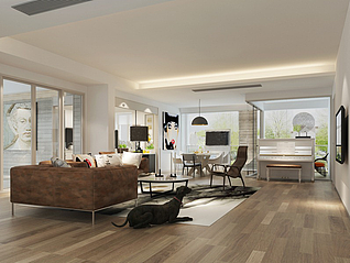 北欧简约风格客厅家装模型