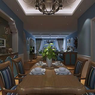 地中海风客餐厅3d模型