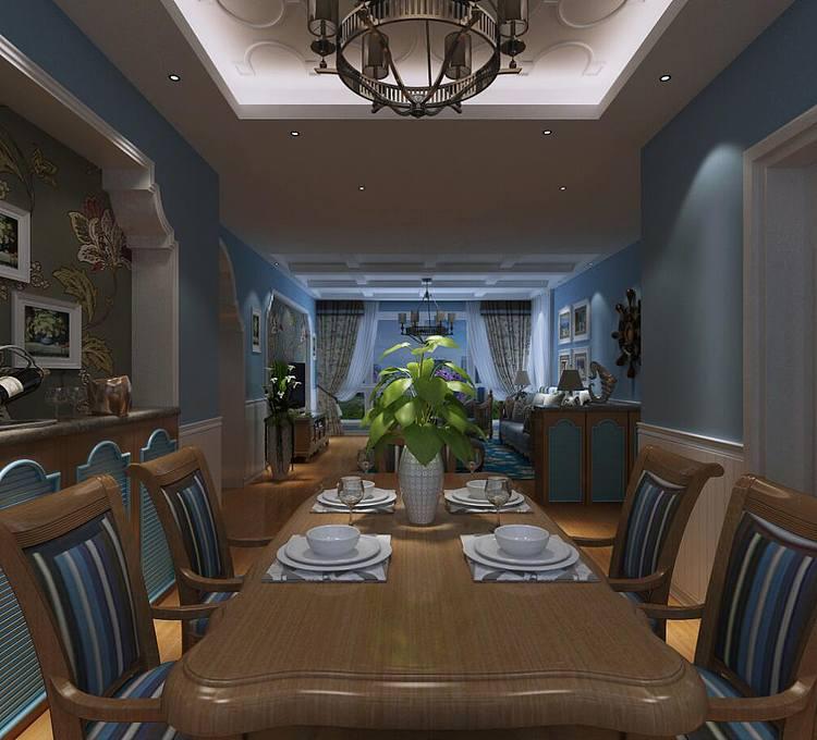 地中海风客餐厅模型