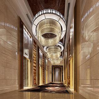现代豪华电梯间整体整体模型