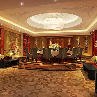 中式餐厅包间整体模型