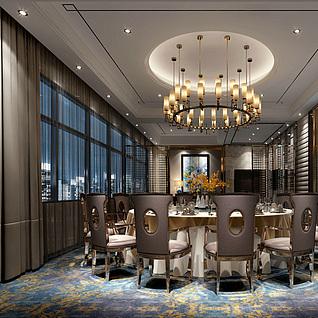 现代餐厅包房整体模型