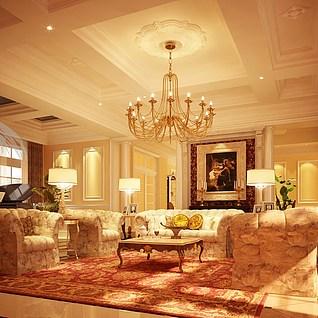 别墅欧式客厅3d模型