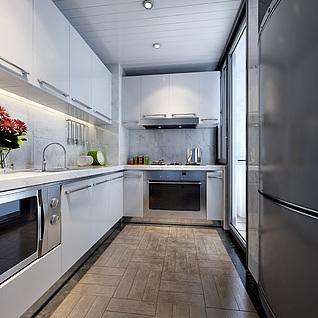 现代风格厨房整体模型