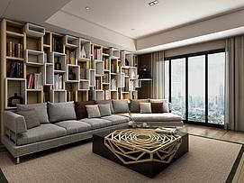现代书柜沙发茶几整体模型