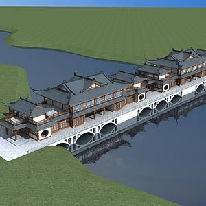古建風雨橋整體模型