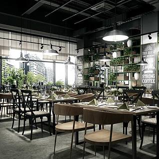 现代个性餐厅整体整体模型