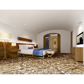 现代风格卧室整体模型