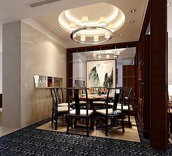 中式客厅餐厅模型