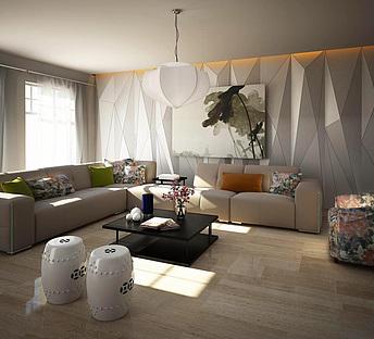 现代时尚布艺沙发几何背景墙