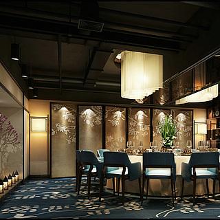 豪华餐厅大包房整体模型