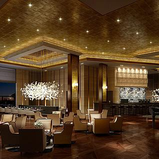 豪华西餐厅整体模型