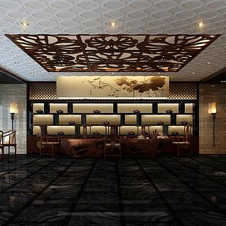 新中式豪华餐厅整体模型