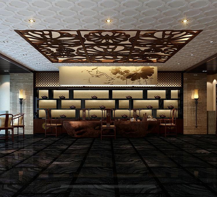 新中式豪华餐厅模型