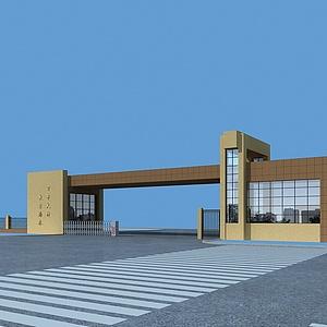 学校大门整体模型