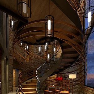 酒店楼梯整体模型
