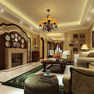 别墅客厅3d模型