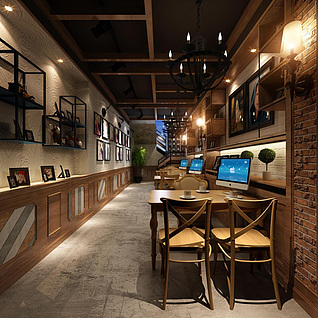 loft工业风吊灯桌椅网吧网咖整体模型